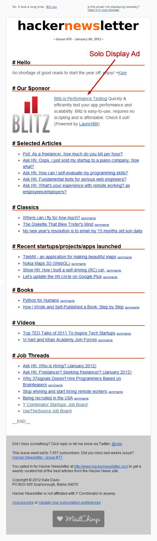 hacker newsletter ads