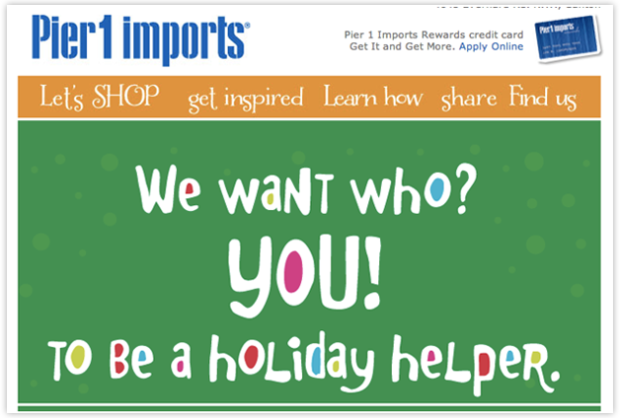 Quirky Email Designs by Pier 1 Imports
