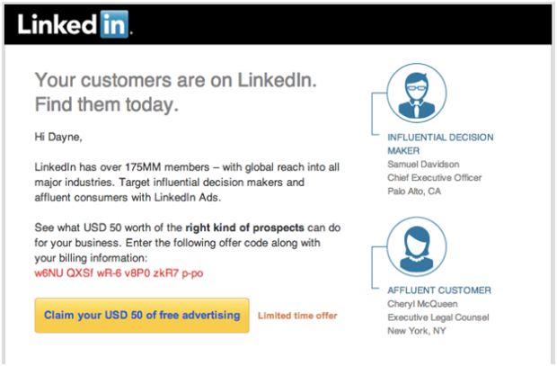 B2B email free trial example from LinkedIn