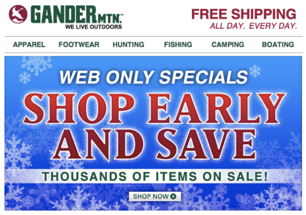 holiday early bird email marketing example