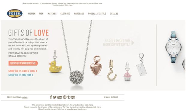 Horizontal email designs are becoming more common like this recent example from Fossil.