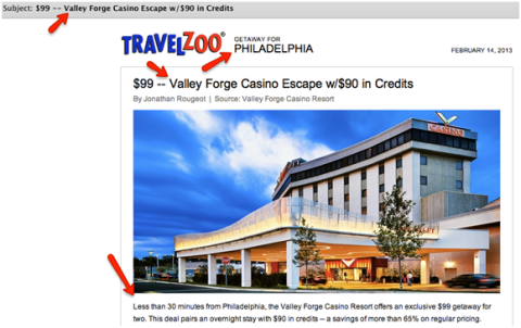 TravelZoo Email Example