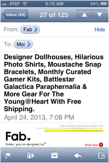 Mobile Email Design Example